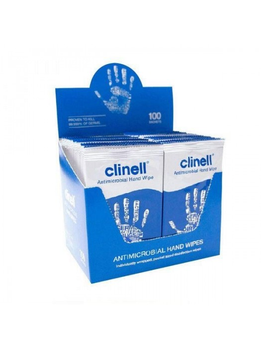 Clinell - Servetele antibacteriene pentru maini 100 bucati - Virucide cu eficacitate pe coronavirus